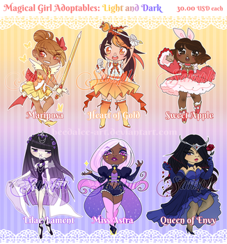Magical Girl Adopts - Light and Dark [sold!] by Beedalee-Art