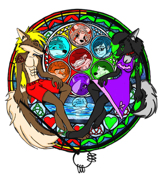 Arsenal and Casey Dive into the Heart Stain glass by Justicewolf337