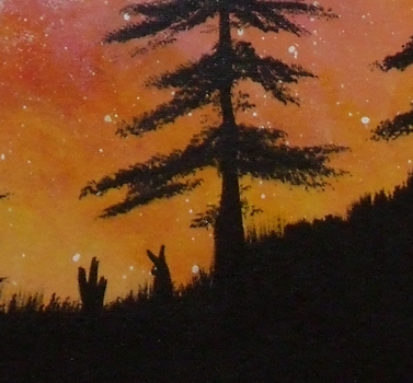 Paint night bunny - Close up of detail by Akela08
