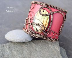 Leather wire wrapped labradorite cuff by IanirasArtifacts
