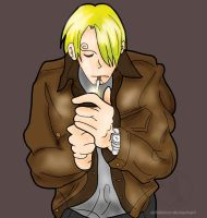 Sanji Smoking in Leather by airlobster