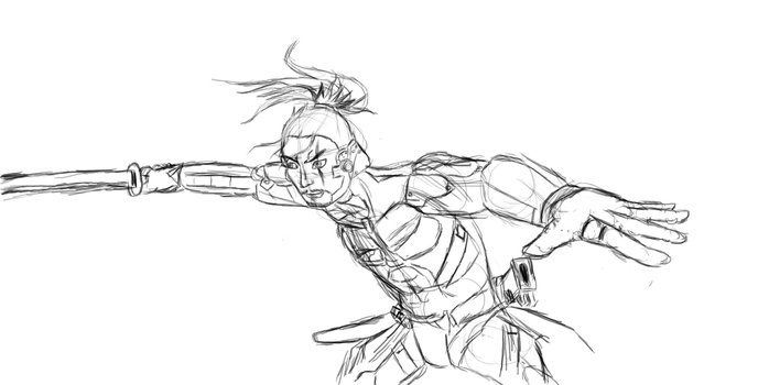 Metal Gear Rising Practice Sketch - Jetstream Sam by GGilgamesh