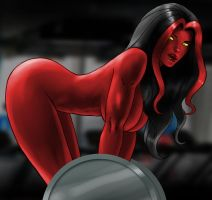Red She-Hulk in GYM by MaximilianDraco