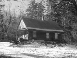 Old House in the Winter B/W by TheGreatWiseAss