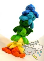 Octopus plush rainbow tower by The-Cute-Storm
