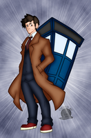 Ten and His TARDIS by blackmoonrose13