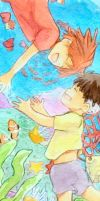 ponyo and sosuke by theMagicDiesAfter3