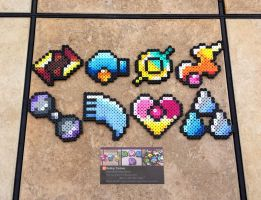 Hoenn Gym Badges - Pokemon Perler Bead Sprites by MaddogsCreations