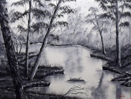 Black and White Stream by DonBowling