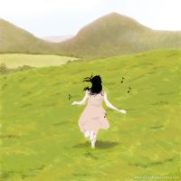Girl_running_on_field by Peerapat-Sema