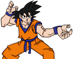 Goku's Battle Stance -color- by PrettySoldierPetite
