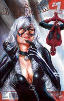 Blackcat Spidey Sketch Cover by Glebe by Twynsunz