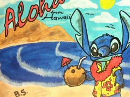 Stitch in Hawaii Painted by sampson1721