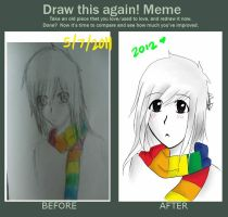 Before and After meme: Ms. Rainbow by Tirameisu