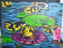 Canvas Painting.  Baby ducks by Haileyjo13