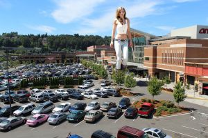 Giant AnnaLynne McCord in some mall parking lot by The-WonderSlug