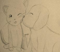 Kickstarter Commission: Kitty and Puppy by FaithWalkers