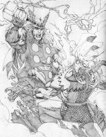 Thor vs Loki by jonathan-rector