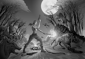 Tomb Raider Night wolf by PeterGuzman
