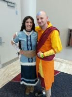 Adult Aang and Katara Cosplay - Old Friends by kateknitsalot
