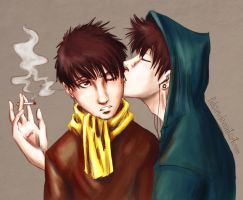 George and Philip - smoke - by Fukari