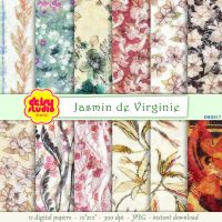 Vintage Floral Digital Paper 12 x 12 inch dsg017 by daisyanderson