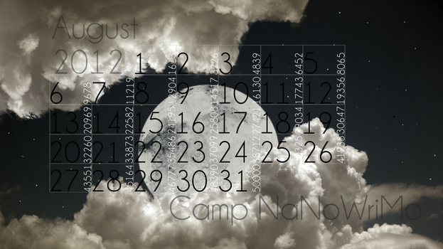 Camp NaNoWriMo calendar, August 2012 by 1018mockingjay
