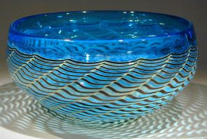 traditional bowl aqua by Bendzunas-Glass