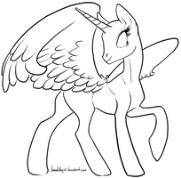 Alicorn Lineart Base by AmandaRaquel