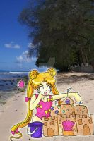 Usagi Builds a Sand Castle by YuniNaoki