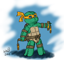 TMNT-Mikey plushie, TKT-style by hkepoetry