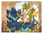 Luxray and Leafeon by owlburrow