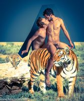 Male nudes and White Tigers by Felixdeon