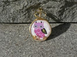 Pink Owl Pendant by magpie-poet