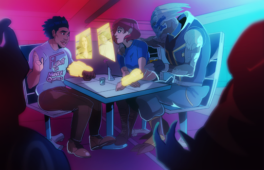 Liam, Shepard and Garrus in a bar~~ (COMMISSION) by squarerootofdestiny