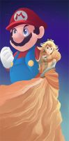 Peach and Mario by zanahoriaman