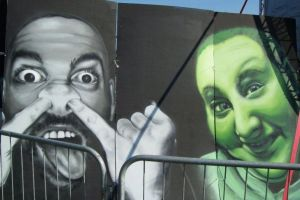 couple of spraypainted portraits by Brave-one