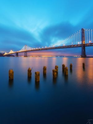 Dawn, San Francisco Bay Bridge by TahaElraaid