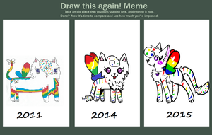 Before and After: Redrawing my OC, Marble by TigerAmethyst