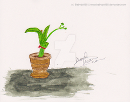 pot of lily painting by KuroHiver