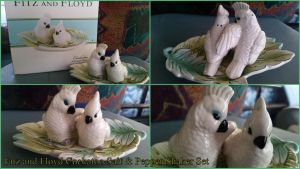 Fitz and Floyd Cockatoo Salt and Pepper Shaker Set by Vesperwolfy87