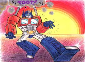 Optimus Prime Keeps On Truckin by blackhellcat