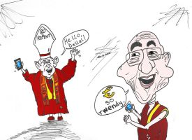 The Dalai Lama and the pope twitter comic strip by optionsclickblogart