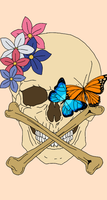 Skull and Butterflies by filthoftheearth