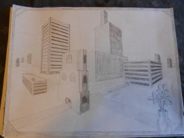 Downtown Two Point Perspective by NinaElizabethJones