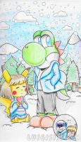 .:Yoshisans and Pikafrisk:. by luigisister
