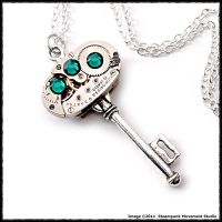 Emerald Steampunk Key Pendant by SoulCatcher06