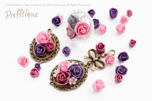 Clay Rose Pendents and Ring by li-sa