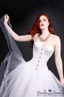 White Satin Bridal Overbust Corset by TimelessTrends