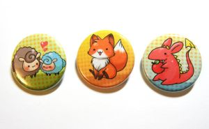 cute creature buttons by michellescribbles